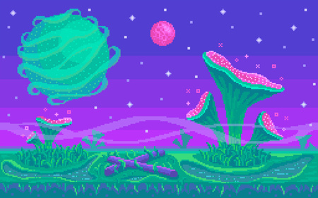 Pixel art game location. Unknown planet with mushrooms area. Seamless vector background.