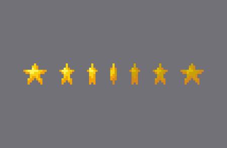 Pixel art star sign animation. Vector illustration.