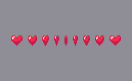 Pixel art heart sign animation. Vector illustration. Иллюстрация