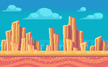 Pixel art desert at day. Seamless background. Vector illustration.
