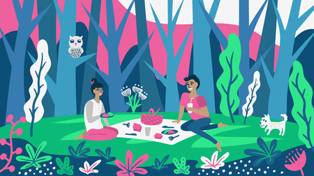 Cute couple having lunch on the meadow. Ilustrace