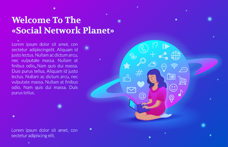 Welcome to the Social Network Planet page. Concept illustration of young woman using a laptop to be a part of online community that situated on special planet.