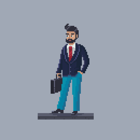 Pixel art businessman personage. Young man with briefcase.