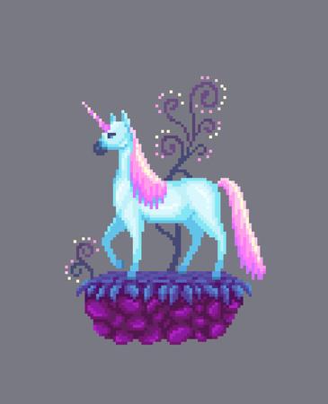 Pixel art fairy unicorn on the stone stand. Vector illustration.