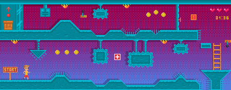 Pixel art platformer with different obstruction. Location with underground station. Background for game application. Иллюстрация