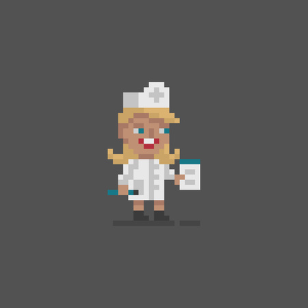Pixel art icon doctor personage. Vector illustration.