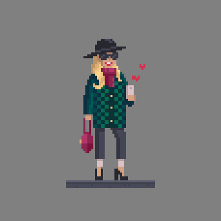 Pixel art woman personage. Fashion stylish girl with mobile phone chat in social networks. Иллюстрация