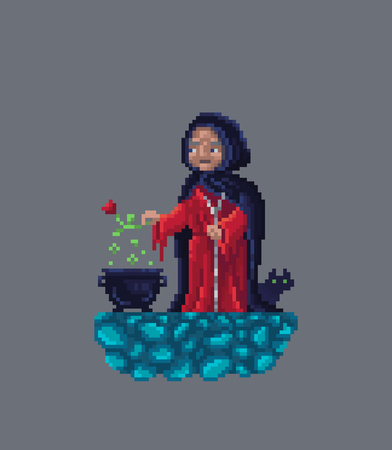 Old scary witch in red dress and black cloak making magical potion in a cauldron. Vector illustration.