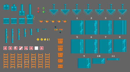 Pixel set of sprites for platformer game. There is animation of : press, elevator, lever, door, box, lamp