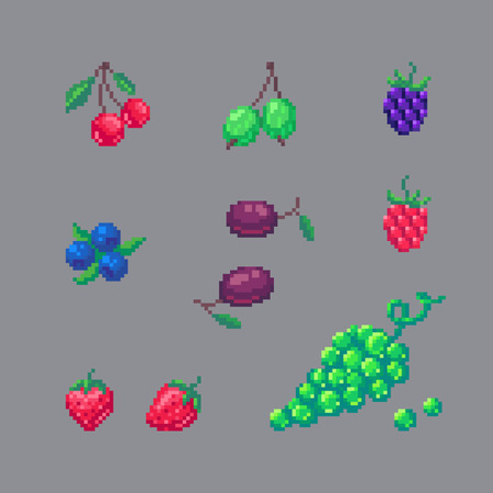 Pixel art style berries set isolated on gray background. Иллюстрация