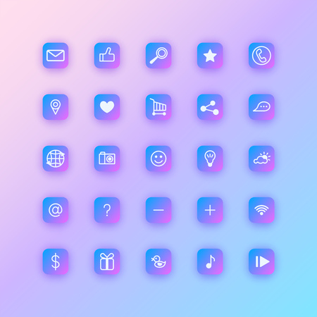 Set of social network icons. Purple gradient buttons with soft shadows. Иллюстрация