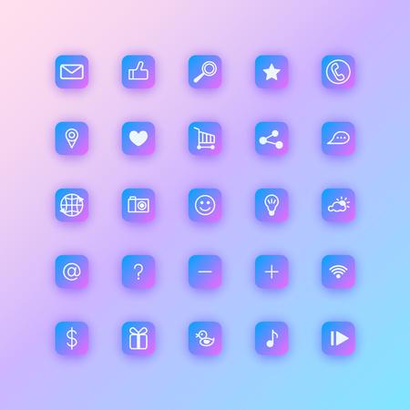 Set of social network icons. Purple gradient buttons with soft shadows. Illusztráció