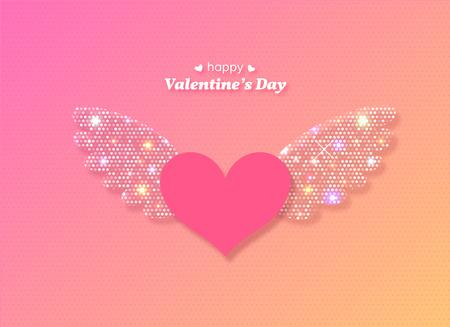 Coeur de Saint Valentin avec des ailes rougeoyantes. Illustration vectorielle.