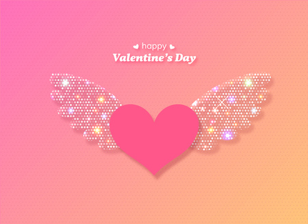 Valentines Day heart with glowing wings. Vector illustration. Vettoriali