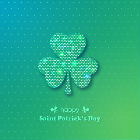 Saint Patricks day greeting card. Shining clover leaf on green background. Vector illustration.