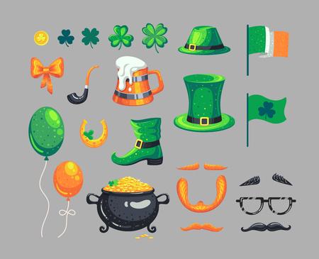 Set of St. Patricks Day symbols. Vector decorations in cartoon style. Illusztráció
