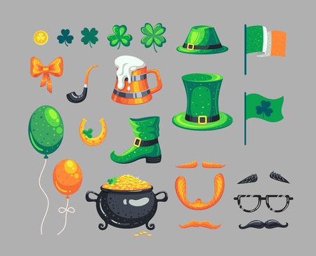Set of St. Patricks Day symbols. Vector decorations in cartoon style. Иллюстрация