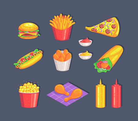 Colorful fast food set isolated on gray background. Vector illustration. Иллюстрация