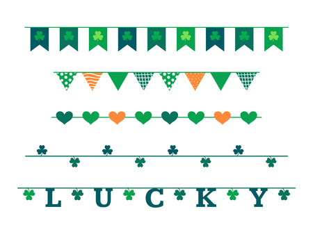 St. Patricks Day vector design elements set. Flag garlands in traditional colors.