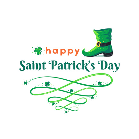 St. Patricks Day poster. Leprechauns boot and clover design elements with wishing on white. Vector illustration.