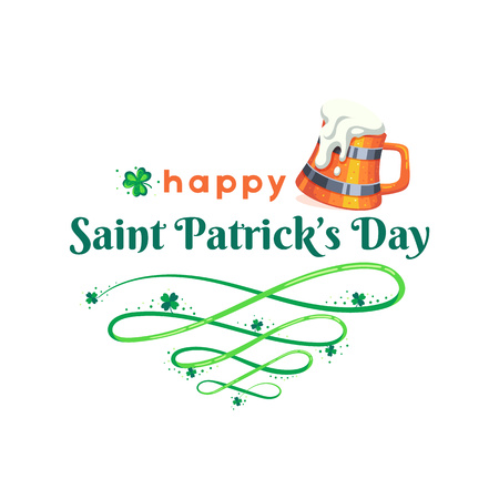 St. Patricks Day poster. Mug of beer and clover design elements with wishing on white. Vector illustration.