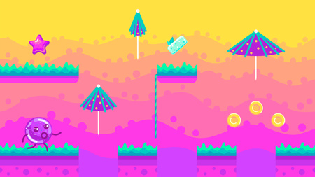 Seamless background Bubble Gum Jungle game. Variant of arrangement of elements of a platformer. Vector illustration for design, graphics, web, web games.