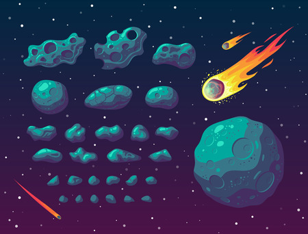 Set of cartoon fantasy asteroids and meteorites different forms and sizes on space background. Vector illustration.