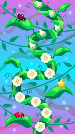 Level background vertical scrolling user interface with liana and blooming flowers and insects on the leaves. Vector image for mobile game.