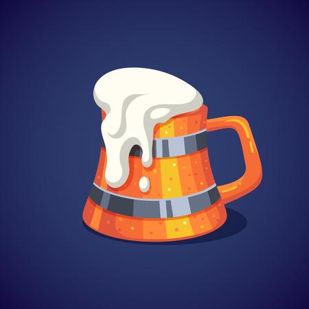 Colorful wooden beer mug with foam. Vector illustration. Иллюстрация