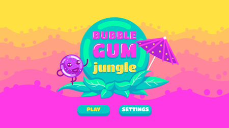 Cover of the game Bubble Gum Jungle. Vector cartoon illustration of background about bubble. Bright thicket with title. For design game, websites and mobile phones, printing. Иллюстрация