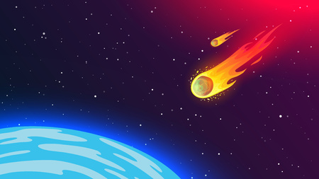 Fiery flying meteorite to Earth. Cosmic phenomenon dangerous to humanity. Asteroid from space. Armageddon, catastrophe, end of the world. Vector illustration.