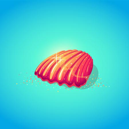 Cute sea shell in cartoon style. Symbol of summer vocations. Vector illustration.