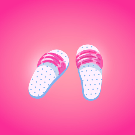 Pair of flip flops, summer time vacation attribute, slippers, shoes in cartoon style. Rubber flip flops symbol of summer holidays. Vector illustration.
