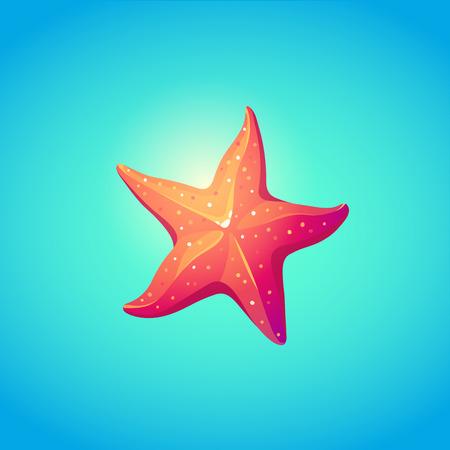 Cute Starfish in bright cartoon style. Symbol of summer vocations. Vector illustration.