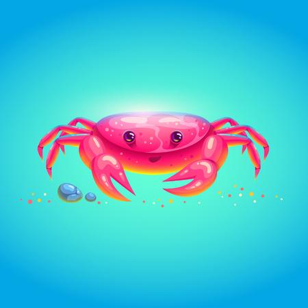 Cute sea crab in bright cartoon style. Symbol of summer vocations. Vector illustration. Иллюстрация