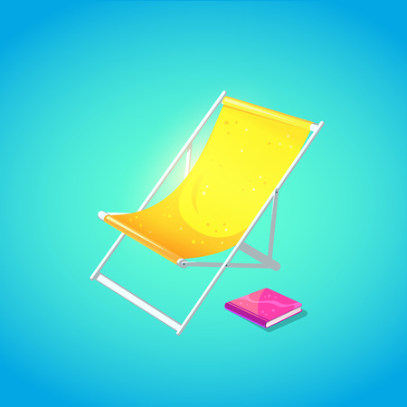 Cute beach chaise longue in bright cartoon style. Symbol of summer vocations. Vector illustration. Illusztráció
