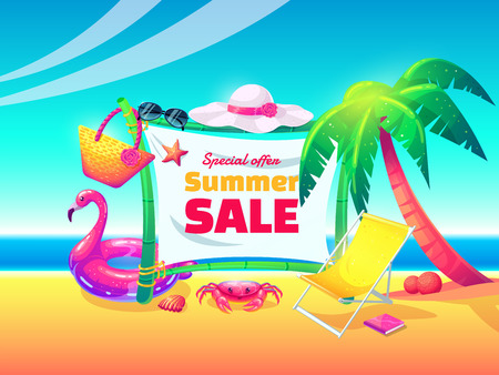 Summer sale vector banner design for promotion with colorful beach elements in cartoon style. Vector illustration. Illusztráció