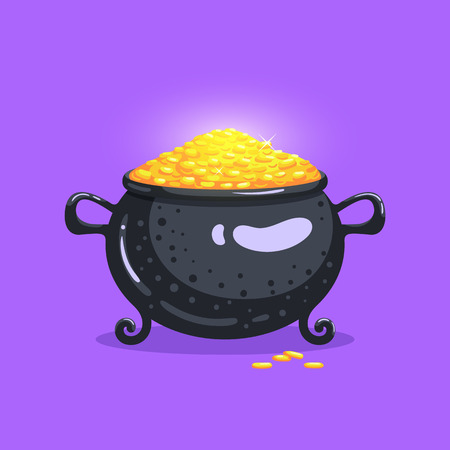 Full pot of money. Cute bright icon in cartoon style. Vector illustration.