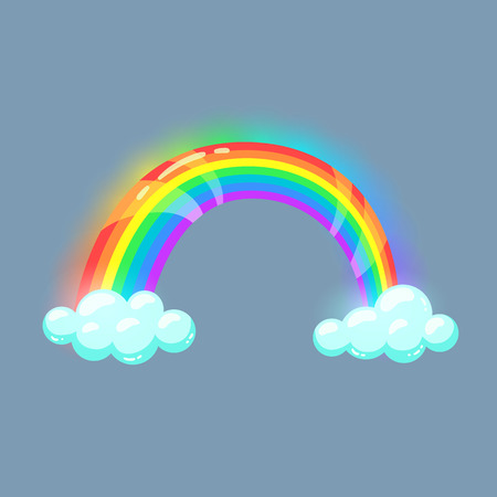 Cute shiny rainbow with clouds in cartoon style. Vector Illustration. Иллюстрация