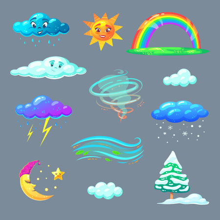 Cute weather icons in cartoon style. Nature elements for kids education. Vector illustration.