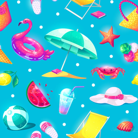 Summer sale vector seamless background. Colorful beach elements in cartoon style. Vector illustration.