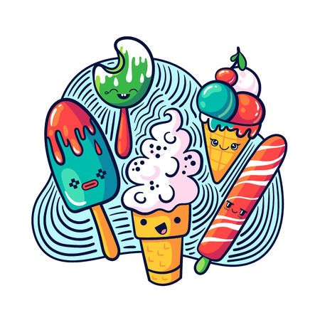 Cute kawaii ice cream set in doodle style. May be used as sticker, badge, print or in another project. Vector illustration.
