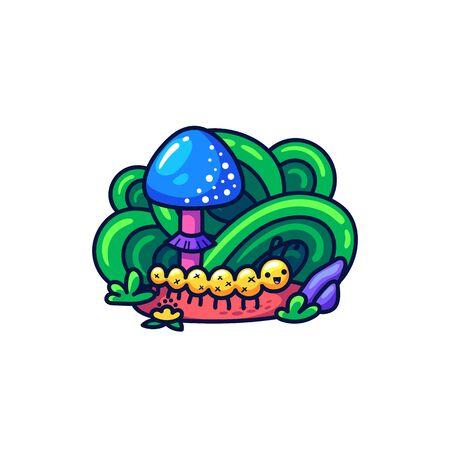 Cute caterpillar and mushroom in doodle style. May be used as sticker, coloring, badge, print or in another project. Vector illustration.