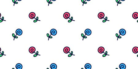 Cute pattern of roses in doodle style. Seamless vector background.