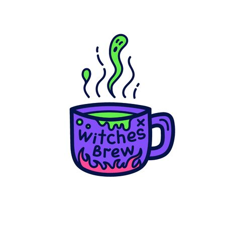 Cup of witch brew for Halloween. Cute Halloween card in doodle style. Vector illustration.