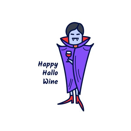 Vampire drinking a glass of wine with the phrase Happy Hallowine. Cute Halloween card in doodle style. Vector illustration.