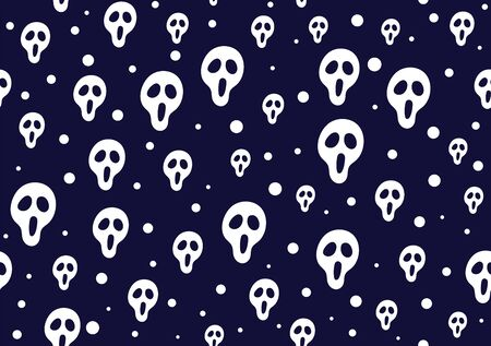 Skulls seamless pattern on dark