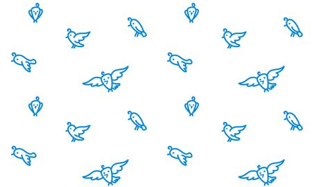 Flying birds contours on white