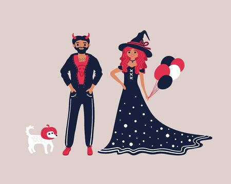 A young couple dressed in costumes for Halloween. Cute vector illustration on Halloween.