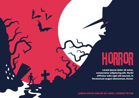 Scary Halloween poster about a man who fell into mystic place. Horrible Halloween holiday story. Vector illustration. Illustration